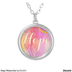 Hope Watercolor Round Pendant Necklace #abstractart #calligraphy