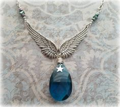 Blue Crystal Necklace, Silver Wings, Wings Jewelry, Blue Necklace, Crystal Jewelry, Blue Jewelry, Silver Necklace, Silver Jewelry, Wings - pinned by pin4etsy.com