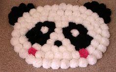 como fazer tapete de pompom panda