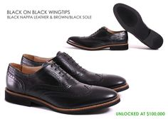 Kabaccha BLACK ON BLACK WINGTIPS Black nappa leather & Brown/ Black sole