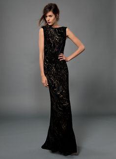 Cut Velvet Sleeveless Blouson Back Gown in Black | Bridesmaid dresses?