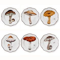 "The limited ""Les Champignons"" edition by French star designer Alberto Pinto comprises an impressive and remarkable range of hand-painted dinner plates. This dinner service's eye-catching design provides a realistic and perfectly handcrafted presentation of mycology on gorgeous Limoges porcelain."