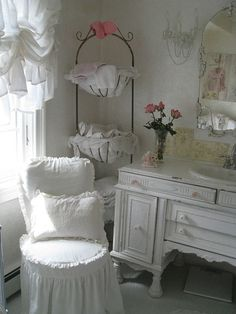 Shabby Chic Vintage White - love the sink vanity, towel holder, chair, window treatment....I guess you could say I love it all!