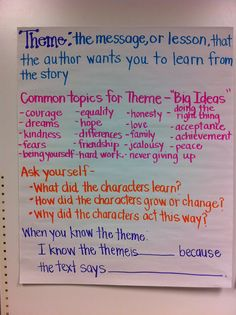 Theme Anchor Chart!  Great for discussing big ideas and themes in stories, along with questions to help with student thinking!
