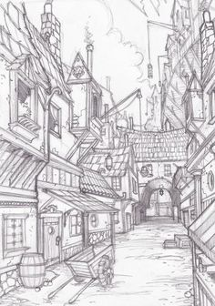 Landscape Sketch, Landscape Drawings, Fantasy Landscape, Perspective Drawing Lessons, Perspective Art, Perspective Building Drawing, Town Drawing, House Drawing, Cityscape Drawing