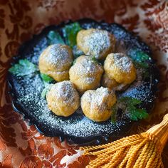 From 1596, Spinach Fritters, delicious and spicy -- like a donut with dates, spices and currants.