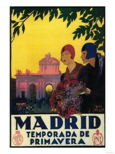 Madrid, Spain - Madrid in Springtime Travel Promotional Poster Premium Poster