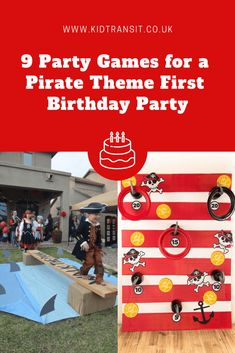 Pirate Themed First Birthday Party Games - my tortoise mind Pirate Birthday, Birthday Party Games, Pirate Theme, First Birthday Parties, First Birthdays, Birthday Kids, Pirate Games For Kids, Pirate Party Favors, Toddler Party Games