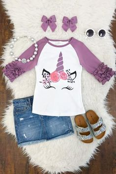 Lilac Unicorn Ruffle Shirt - Sparkle In Pink Little Girl Closet, Little Girl Outfits, Kids Outfits Girls, Cute Girl Outfits, Toddler Girl Outfits, Baby Girl Onsies, Cute Baby Girl, Kids Clothes Sale, Doll Clothes