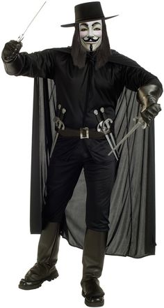 Men's Costume: V for Vendetta | This shadowy freedom fighter includes shirt, pants with boot tops, cape, hat, mask and belt with 6 daggers.