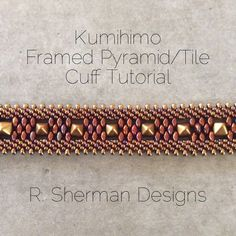 PDF TUTORIALS Kumihimo Pyramid/Tile Cuff by RShermanDesigns - TWO complete PDF tutorials for wide cuff bracelets featuring Kumihimo braids linked together with Pyramid or Tile beads.: