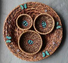 Items similar to Pine Needle basket on Etsy Pine Needle Crafts, Pine Needle Baskets, Pet Urns, Pine Needles, Basket Ideas, Pine Cones, Basket Weaving, Macrame, Diy And Crafts