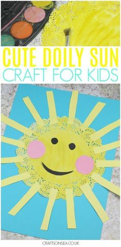 What a cute doily sun craft! This easy craft for kids is perfect as a spring craft or for summer (and maybe weather units too?!) plus it cost only pennies to make and you can use it to help kids with their scissor skills. Perfect for toddlers, preschoolers and older kids too! #kidscrafts #kidsactivities #artsandcraftsfortoddlers,