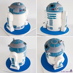 R2-D2 cake, version 2.0. Everything is cake; 3 in the body (vanilla, lemon and red velvet), chocolate in head and strawberry legs