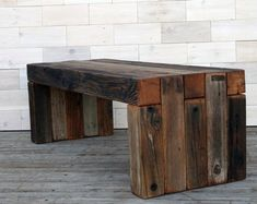 Box Joint Bench made from Barn Wood . (tags weathered wood table reclaimed wood bench barnwood end table coffee table barn wood table) Reclaimed Wood Benches, Weathered Wood, Barn Wood, Rustic Wood, Reclaimed Lumber, Wood Wood, Modern Rustic, Furniture Plans, Rustic Furniture