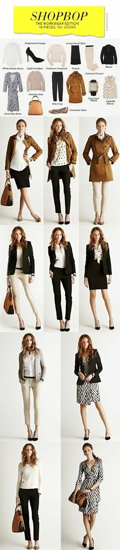 How to build a business wardrobe. 10 Outfits from 14 Pieces in Your Closet.