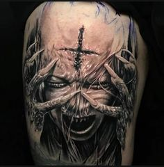 Tattoo Art Evil Tattoos, Creepy Tattoos, Badass Tattoos, Skull Tattoos, Body Art Tattoos, Hand Tattoos, Sleeve Tattoos, Mädchen Tattoo, Clown Tattoo