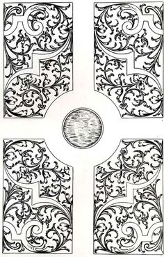 BRODERIE : modèle pour réaliser un parterre de jardin à la française extrait de l'ouvrage de BOYCEAU Jacques, sieur de Bareaudière. Traité de Jardinage selon les raisons de la Nature et de l'Art - 1638