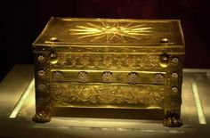 Archaeological site of Vergina (ancient Aigai), Imathia, Greece. According to M. Andronicos, this golden larnax contains the remains of king Philip II, father of Alexander the Great. On the upper side of the larnax, the famous Star of Vergina (or Vergina Sun) can be seen.