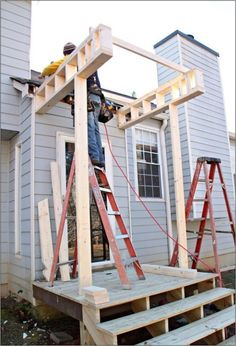 a Front Portico Building a Front Portico I want this at the front door since we need to redo steps!Building a Front Portico I want this at the front door since we need to redo steps! House With Porch, House Front, Veranda Design, Front Porch Design, Front Porch Addition, Front Porches, Porch Steps, Front Steps, Porch Roof