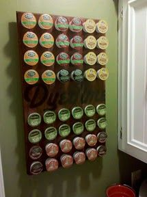 "Homemade DIY Keurig K-Cup holder. Made it with Hardwood floor bits and a 2"" drill bit."