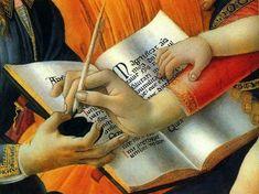 Sandro Botticelli: Madonna del Magnificat (Particolare). Sacra conversazione di mani: l'angelo porge il calamaio a Maria che scrive il Magnificat, accarezzata da Gesù.