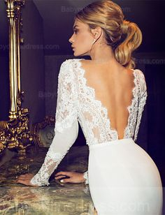 Applique V-Neck Mermaid Wedding Dress 2015 Open Back Long Sleeve Chapel Train Bridal Gowns