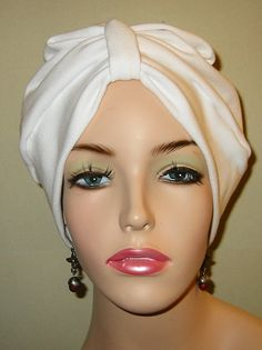 White   Knit Turban Chemo Hat Snood Womens Hat by CJHats on Etsy, $10.00