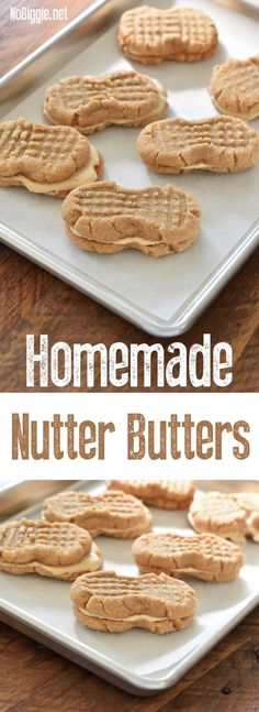 Homemade Nutter Butter Cookies warm and soft straight from your oven. We're making Homemade Nutter Butters…sure you can pick up a p. Oreo Dessert, Cookie Desserts, Just Desserts, Delicious Desserts, Dessert Recipes, Cheesecake Cookies, Cookie Jars, Copycat Recipes Desserts, Sweets