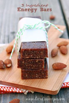 These easy 3 Ingredient No-Bake Energy Bars taste even better than the popular Larabars, and they keep will in the refrigerator or freezer for weeks. For variety, you can mix up the nuts and dried fruit.