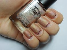 Nude Holo with Pink Hex Glitter Half Moon Mani