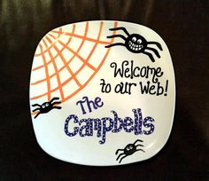 hand painted halloween ceramic spider web plate on etsy 2200 - Halloween Plates Ceramic