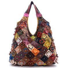 Flower Crystal Studded Leather Hobo Handbag 8da7442bbc00d