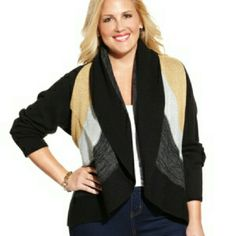 NWT! CHARTER CLUB PLUS SIZE COLOR-BLOCKED CARDIGAN Shine and be cozy with this metallic color-blocked open knit cardigan by Charter Club. Comes in a beautiful combination of gold, silver, gray, and black.  Originally sold at Macy's for $80, get it here for $20!  *As always, feel free to make me a reasonable offer :)  *Bundle to save on shipping and get 15% off! Charter Club Sweaters Cardigans