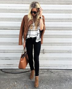 leather jacket + jeans #fallstyle