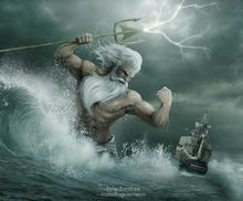 """Poseidon (Neptune) - Greek God of the Sea. His main domain is the ocean and additionally, he is referred to as """"Earth-Shaker"""". He is an Olympian God and brother of Zeus and Hades. Poseidon Tattoo, Poseidon Drawing, Greek Mythology Tattoos, Greek And Roman Mythology, Greek Gods And Goddesses, Snake Mythology, Zeus And Hades, Greek God Tattoo, God Tattoos"""