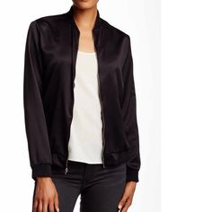 Satin bomber jacket A must have in any closet.. Satin bomber jacket. Dress it up or down. Very soft material. Light jacket(no lining).   Small fits size 6. Medium size 8.  NWOT.  There is no tags attached but I mark it as NWT as its retail item Point threads Jackets & Coats