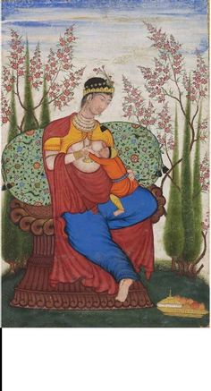 Madonna and Child ca. 1580 - 85, India. In 1580 three Jesuits were brought to discuss Christianity with Akbar. European piantings of the Virgin and Child fascinated the Mughal Emperor