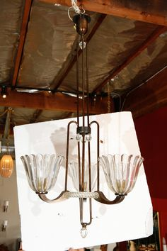 Art Deco Barovier Chandelier *crystal shade and brass* Italian 1930s