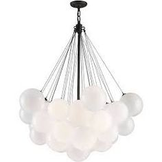 """Nuage Pendant from Troy Lighting 41.25""""W 48.25""""H 5-60W Med Base Clear glass, Frosted inside"""