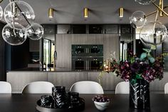 Poliform Artex in grey stained oak, integrated appliances from Gaggenau and Miele, tabletop in composite stone. Grey Stain, Bespoke Kitchens, Tabletop, Kitchen Design, Appliances, Stone, Gadgets, Gray Stain, Accessories
