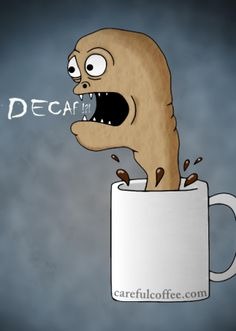 coffee cartoon mug monster decaf