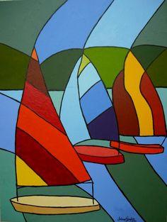 S�rie Barcos � VelaAcr�lica Sobre Tela80 x 602012.Pintura nas laterais, sem necessidade de Moldura.