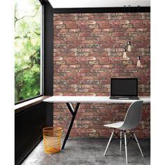 Brewster 56.4 sq. ft. Loft Red Brick Wallpaper