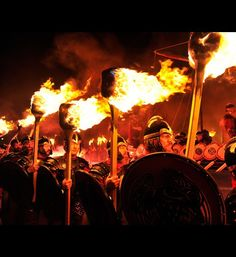 Up Helly Aa - Viking and Fire Festival    Held on January 31 in Scotland, the festival is Europe's biggest fire festival that marks the end of the Yule season. Local men dress up as Vikings (no women allowed) and light torches and eventually throw them into a replica long ship or galley.