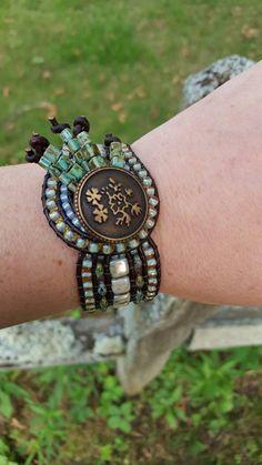 Handmade Earthy Beaded Cuff Bracelet with dark by NatureByLisa