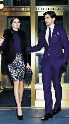 falda estampada y navy blue terno