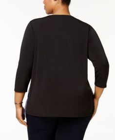 Ny Collection Plus Size Layered-Look Metallic Top - Blue 2X