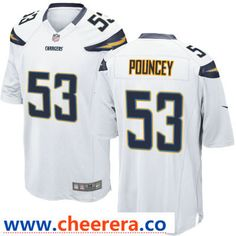1eb4106b819 Men s Los Angeles Chargers  53 Mike Pouncey White Road Stitched NFL Nike  Game Jersey