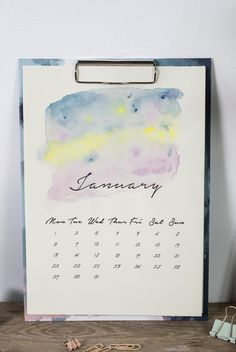 DIY : Free printable DIY watercolour calendar for 2018. Just print and add watercolour by Søstrene Grene